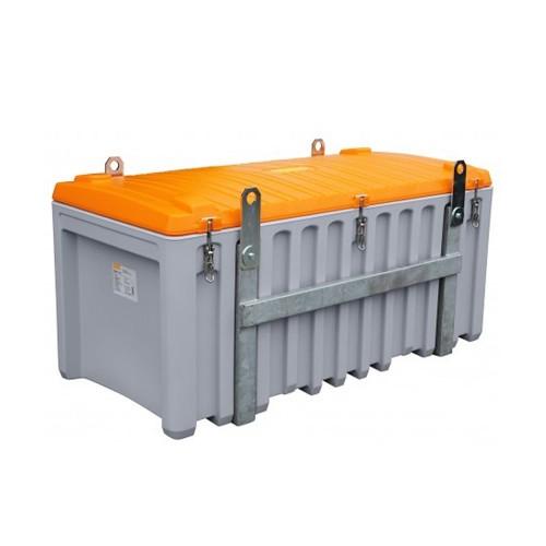 Baúl contenedor caja almacenaje CEMbox 750 l con enganche grua gris/naranja