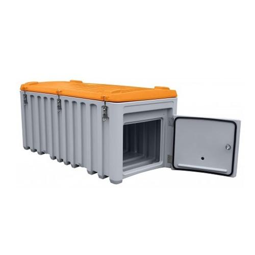 Baúl contenedor caja almacenaje CEMbox 750 l con puerta lateral gris/naranja