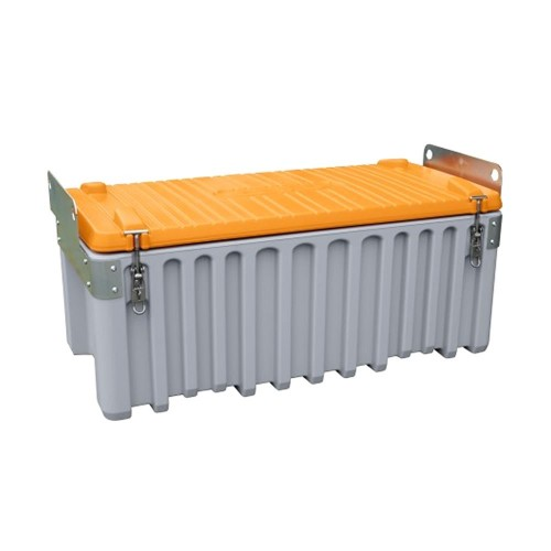 Baúl contenedor caja almacenaje CEMbox 250 l con enganche grua gris/naranja