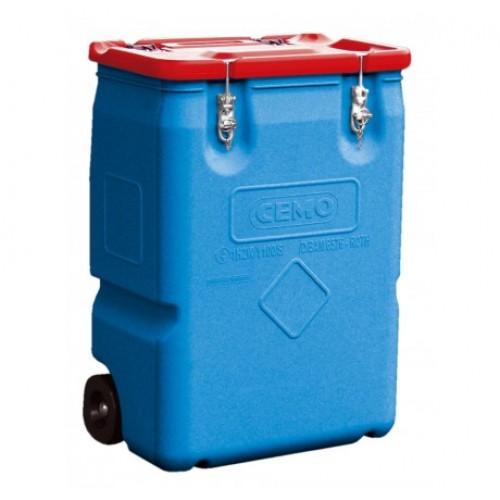 Contenedor sustancias peligrosas / Carrito 250 litros / Tapa roja