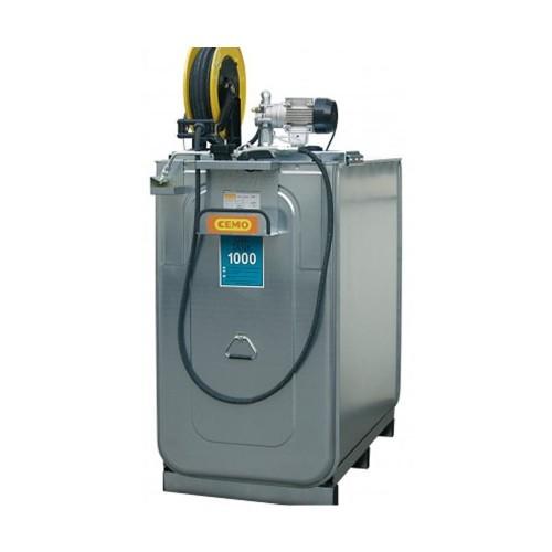 Depósito HDPE 1000 litros con bomba eléctrica para lubricantes (Aceite) más carrete