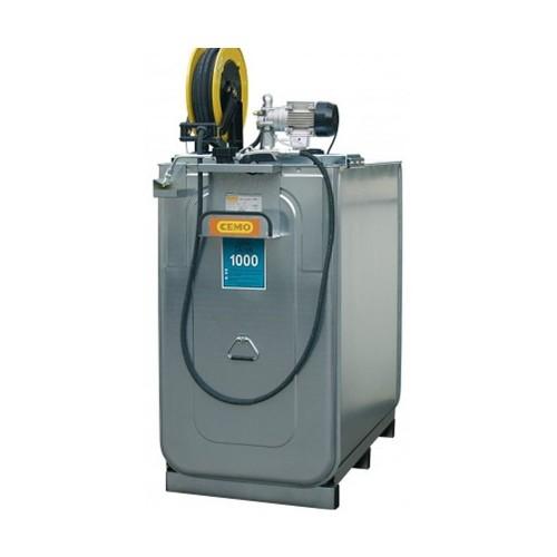 Depósito HDPE 750 litros con bomba eléctrica para lubricantes (Aceite) más carrete